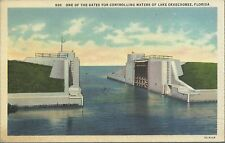 Old Vintage Gates Controlling Waters Of Lake Okeechobee Florida Linen Postcard