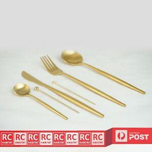 6Pcs Luxury Stainless Steel Cutlery Set Knife Spoon Fork & Teaspoons Gold AU