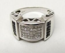 Vtg 14K White Gold Diamond Ring Sz 10 White Black Diamonds 1.75 Carat TCW Mens
