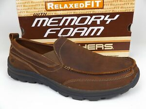 Mens SKECHERS Relaxed Fit Superior Gains Slip On Comfort Shoes Size 13.0 Leather