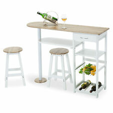 Kitchen Island Cart Trolley Dining Table Storage 2 Bar Stools & Drawer Oak White