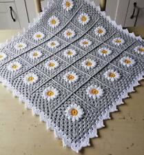 New handmade daisy crochet flower baby blanket light grey and white