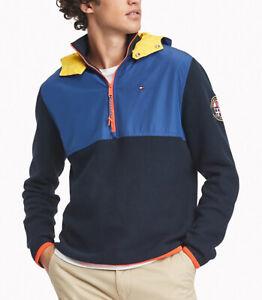 Tommy Hilfiger Men's Sky Captain Navy Colorblocked 1/4 Zip Pullover Hoodie $149
