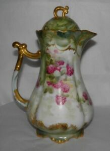 1890s JEAN POUYAT LIMOGES France CHOCOLATE POT HP PEONIES Pink Flowers GOLD TRIM