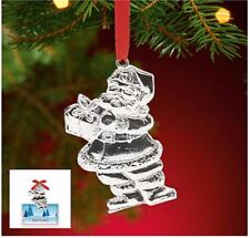 New Lenox Ornaments Santa Gift Card Holder Silver Metal