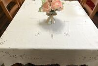 """VTG Cutwork Whitework Floral Hand-Embroidered 53x59"""" Linen Tablecloth (RF960)"""