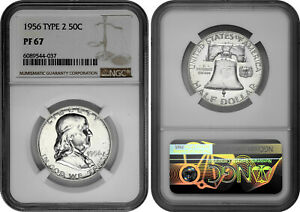 1956 Type 2 50c Silver Proof Franklin Half Dollar NGC PF 67