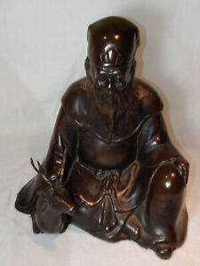 Bronze figure of Shoulao seated on a deer China Qing Dynasty Qianlong period