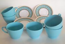Vintage MELAMINE CUP & SAUCERS BLUE WHITE & GOLD LOT 6 mugs 8 Saucers 304-20 305