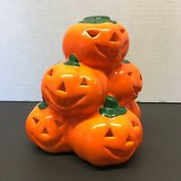 Vintage Halloween Stacked Pumpkin Tealight Holder Ceramic Orange Jack O Lantern
