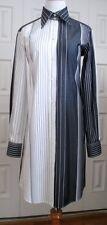 $1500 New Italy Dolce & Gabbana White Gray Striped Cotton Career Shirt Dress 6 S
