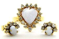 DONNE 14ct 14 carati 14k oro giallo OPALE & DIAMANTE ANELLO & set orecchini
