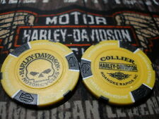 "Yellow & Black ""Skull"" Poker Chip Collier Harley Davidson Roanoke Rapids, NC"