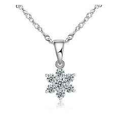 Fashion Woman Clear Crystal Snowflake Pendant White Gold Filled Chain Necklace