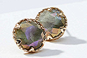 ANN TAYLOR LOFT FACETED STONE STUD GOLD/PURPLE EARRINGS NEW WITH TAGS