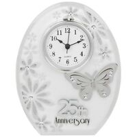 25th Wedding Anniversary Clock 25 years of Marrage Silver Anniversary Gift UK
