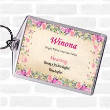 Winona nom signifiant Sac Tag Keychain Porte-clés Floral