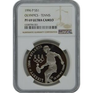 1996 P Olympics Tennis Proof Silver one Dollar NGC PF69 Ultra Cameo