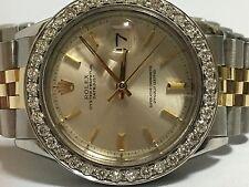 Rolex mens two tone diamond  custom Bezel 36mm Date just automatic watch
