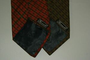Lot X2 Faconnable Vintage Green Orange Plaid Silk Neck Tie Made in France