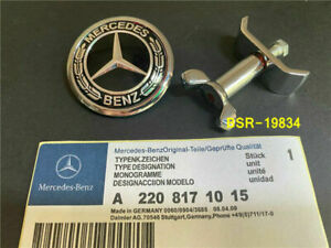 45mm Mercedes Benz Black Bonnet Badge Hood Emblem Sticker C S E Class w204 W211