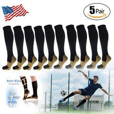 5 Pairs Copper Compression Socks 20-30mmHg Graduated Support Men's Women's