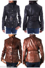 Leather Patternless Military Coats & Jackets for Women