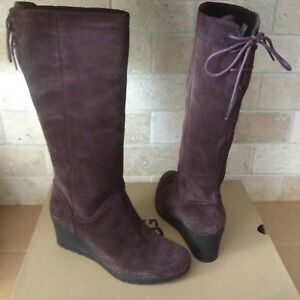 UGG Dawna Stout Waterproof Suede Lace Bow Wedge Tall Rain Boots Size 10 Womens