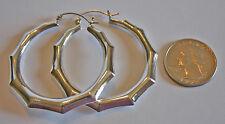 """2"""" / 50mm Sterling Silver 925 Hoop Earrings Bamboo Design Hinged Post"""