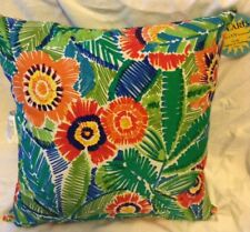 NWT 16X16 Outdoor/Indoor Throw Pillow ~ UV Resistance ~ Floral Colorful Print ~