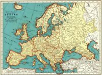 1939 Antique EUROPE Map 1930s Vintage Map of Europe Gallery Wall Art 8264