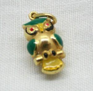 Lovely Little 9 carat Gold And Enamel Owl Pendant