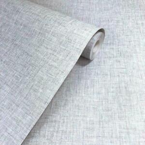 Arthouse Linen Texture Light Grey Plain Woven Effect Textured Wallpaper 676006
