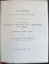 PROGRAMME Soiree Opera de Paris, president republique de turquie et  General de