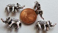 10 perles ELEPHANT Animaux METAL ARGENTE 20mm DIY création bijoux déco MA291