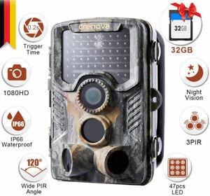 20MP Wildkamera HD 1080P Jagdkamera Wildtier Kamera Infrarot IR Nachtsicht DE