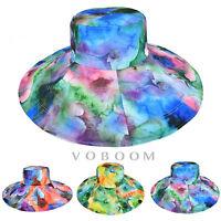 Summer Womens Lady Flower Large Wide Brim Bucket Hat Beach Sun Hat Outdoor BZ20