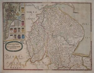 LINCOLNSHIRE AND NOTTINGHAMSHIRE BY CHRISTOPHER SAXTON, 1597 (BUT CIRCA 1693)