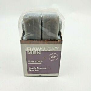 Raw Sugar Bar Soap Black Coconut + Sea Salt Cold Press Mens 2pk 5oz bars