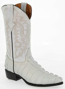 Mens Western Cowboy Boots Off White Alligator Pattern Tail Genuine Leather J Toe