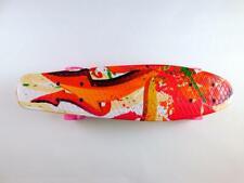 Cutemelo Skateboard 55cm Mini Cruiser Komplettset Retro LED Rollen rot