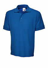 Uneek Uc104 Mens Ultimate Short Sleeve Combed Cotton Polo Shirt 6 Colours Royal Blue X Large