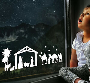 Large Christmas Nativity / Bethlehem Scene Window Sticker Decal - 60 x 20cm