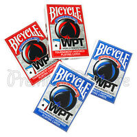 4 Decks x Bicycle WPT playing cards World Poker Tour Jumbo index Red or Blue NEW