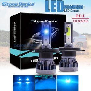 2x Ice Blue 8000K 6000LM Super Bright COB H4 9003 LED Headlight High Low Beam