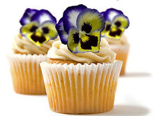 ✿ 24 Edible Rice Paper Cup Cake Toppings, Cake decs - Pansy - blue or red ✿