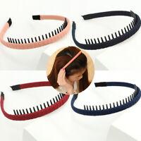 Women Girls Solid Sweet Headwear Comb Teeth Hair Hoop Headband Accessories