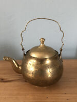 Antique/vintage Indian Brass Kettle/teapot Made In India Decor