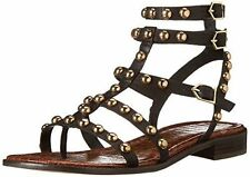 SAM EDELMAN Brown Leather Gold Stud 'Eavan Gladiator Sandals 4.5M NEW! SOLD OUT!