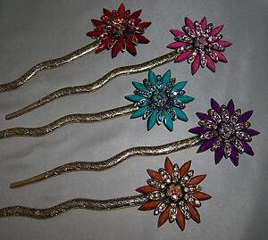 Flower Rhinestones Hair Stick Antique Style Hairpin Chignon Pin, Fast Ship